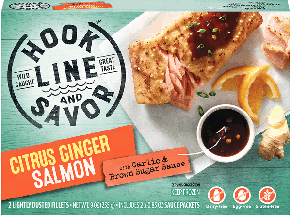 Inspired by our love of salmon and asian flavors, each wild-caught salmon fillet is lightly dusted with a blend of millet, lemon and orange zest, ginger, garlic and green onion and accompanied by a garlic & brown sugar sauce that packs a flavorful punch. YUM!